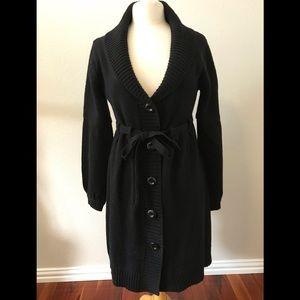 Jackets & Blazers - Long wool sweater coat with tie